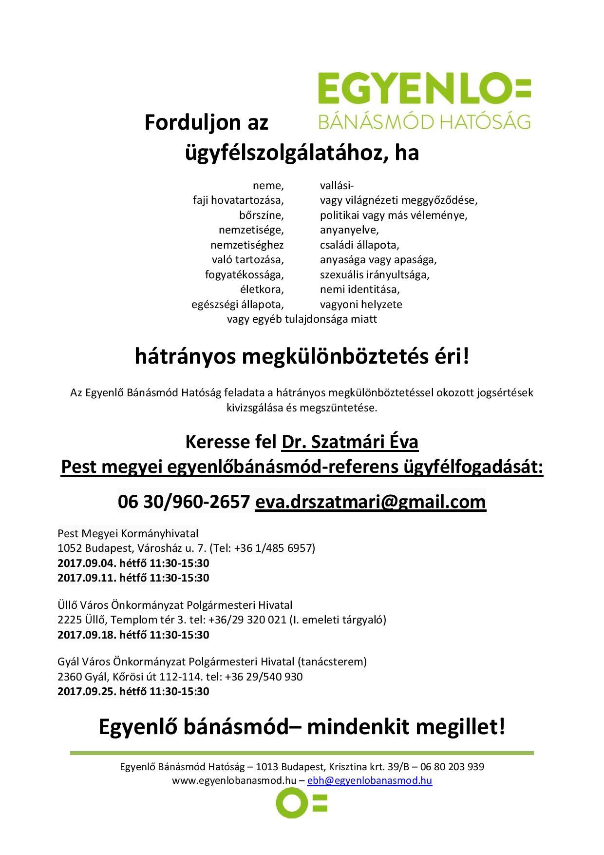 Egyenlő Bánásmód Hatóság ügyfélfogadási időpontok és elérhetőségek Pest megyében